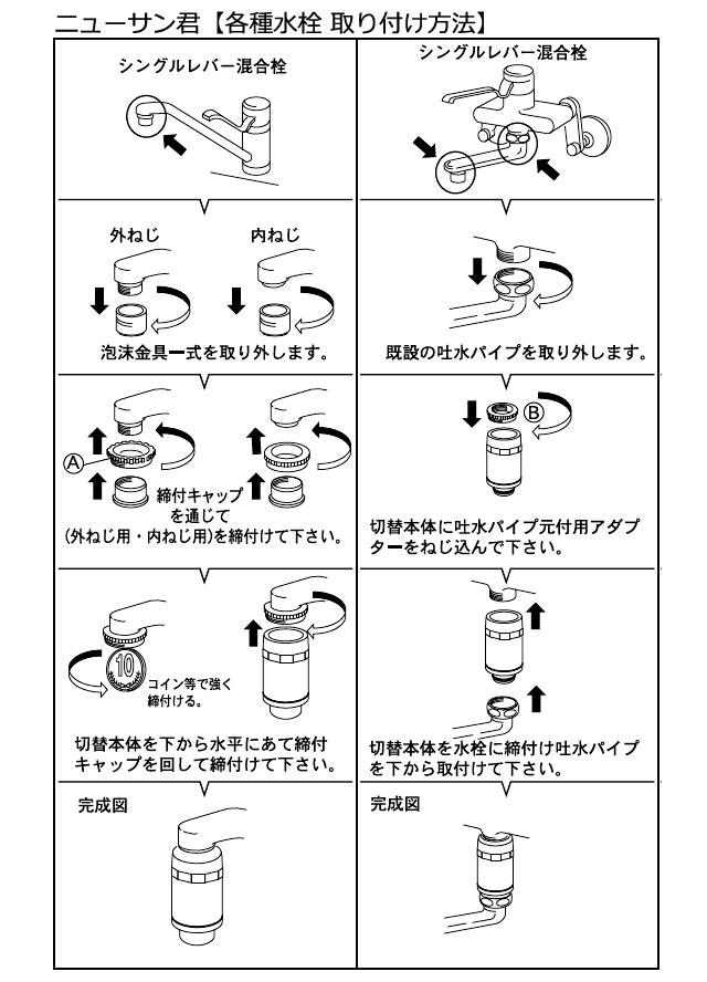 ニューサン君【各種水栓取付方法】1